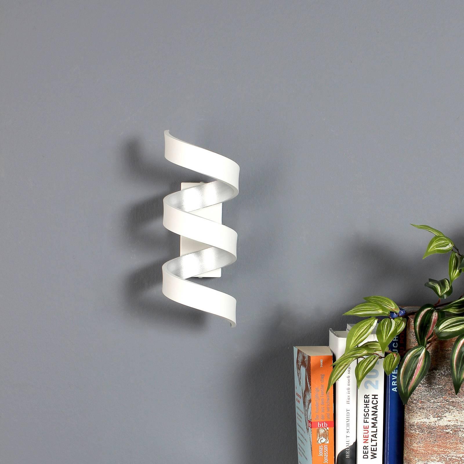 LED-seinävalaisin Helix, valkoinen-hopea, 26 cm
