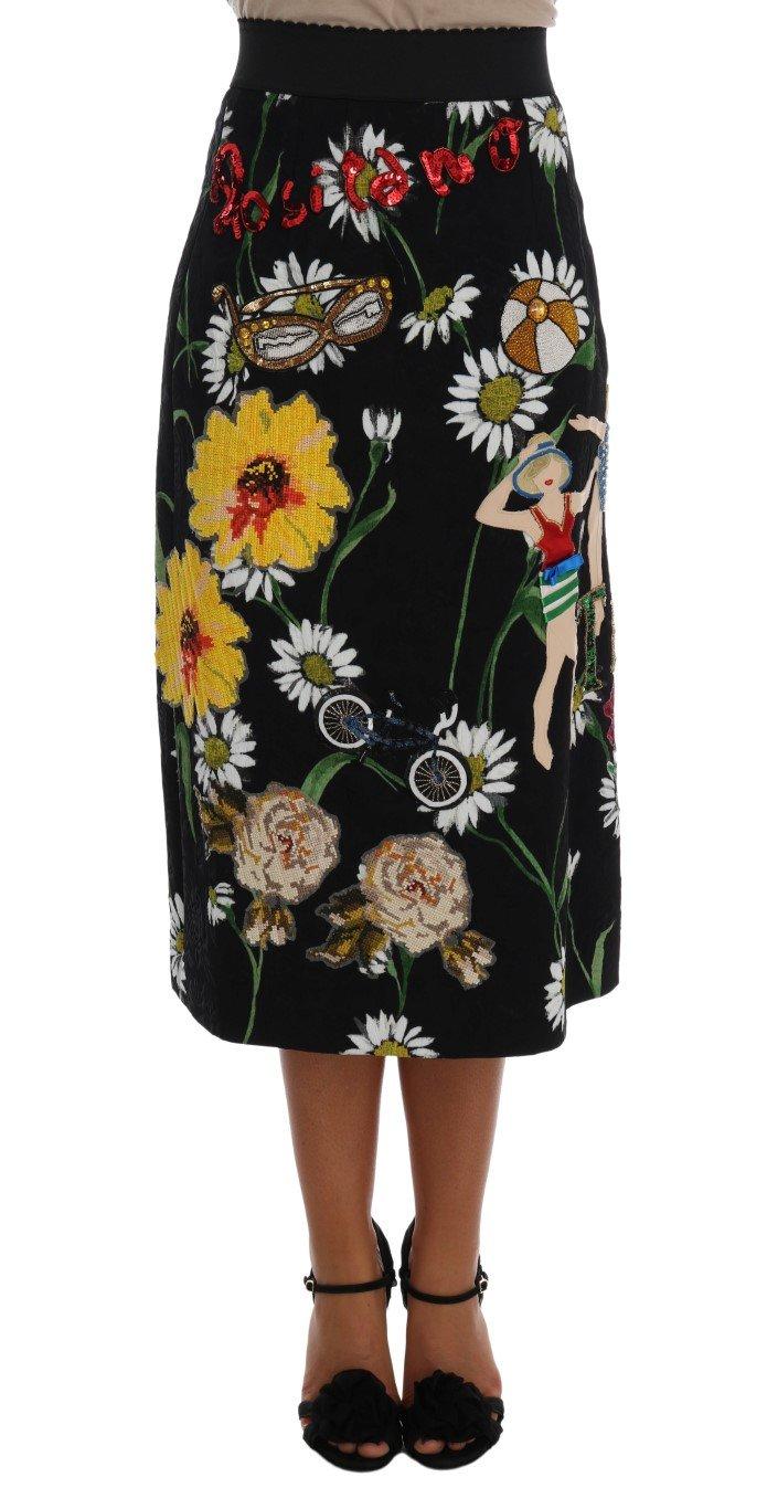 Dolce & Gabbana Women's Embellished Daisy Brocade Skirt Multicolor SKI1065 - IT36|XXS
