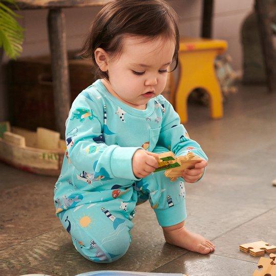 Dress med skjærgårdstrykk, baby lysblå