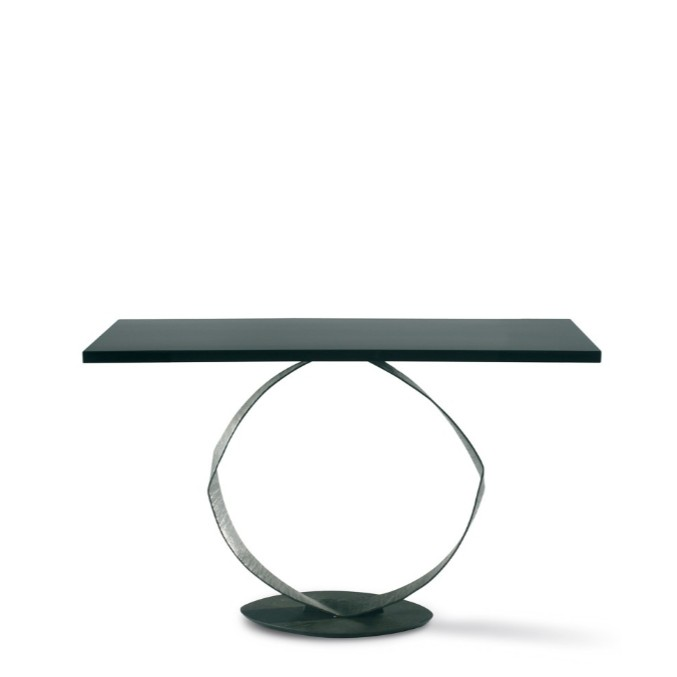 Porta Romana I 'O' Console Table BRONZED WITH BLACK LACQUER TOP
