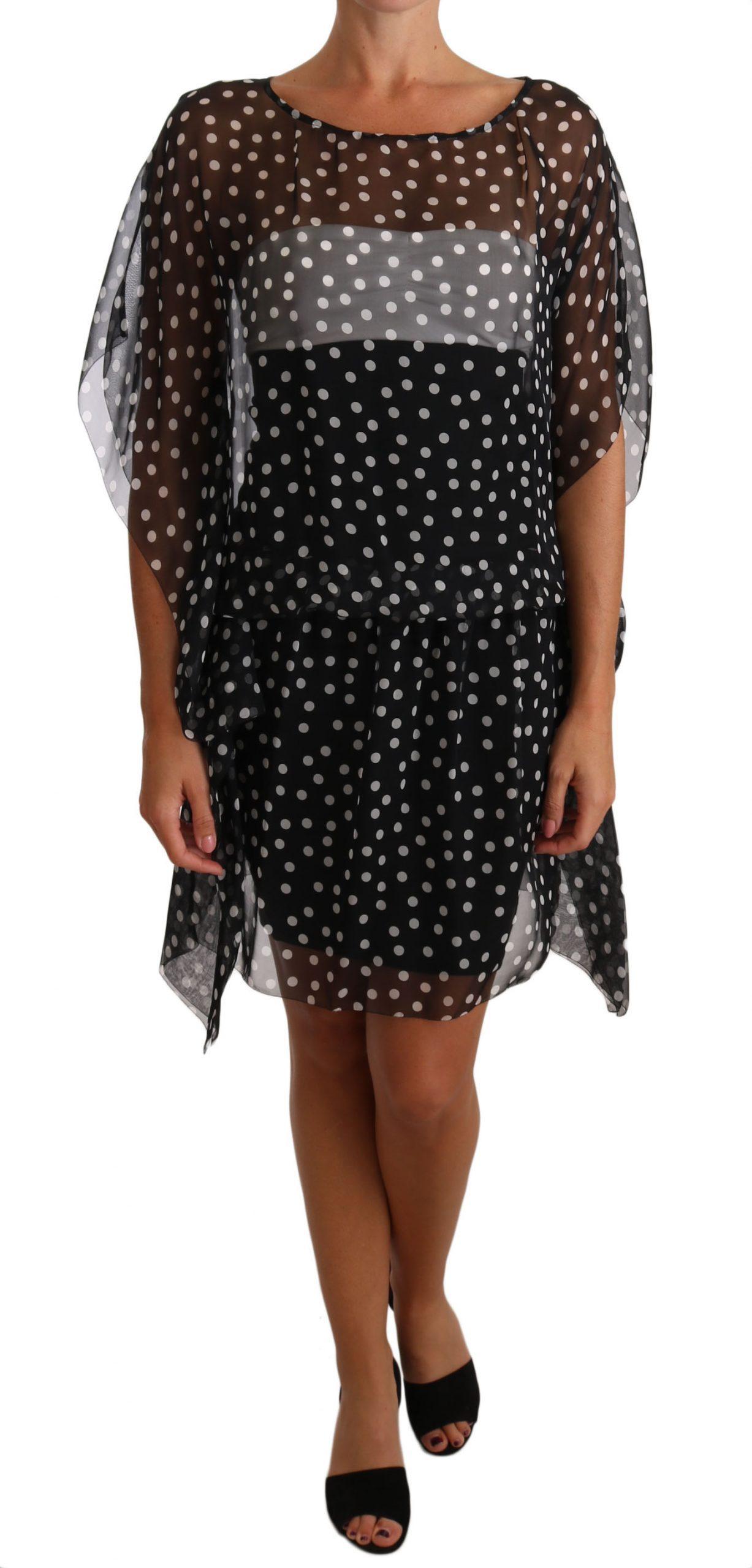 Dolce & Gabbana Women's Silk Poncho Tunic Polka Dot Dress Black DR2430 - IT36 | XS