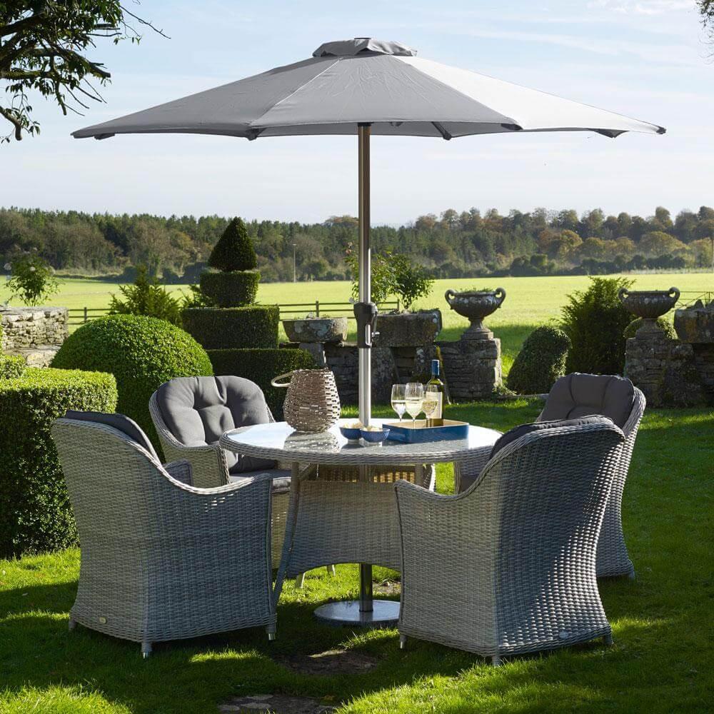 2021 Bramblecrest Monterey 4 Seat Garden Dining Set With Round Table - Dove Grey