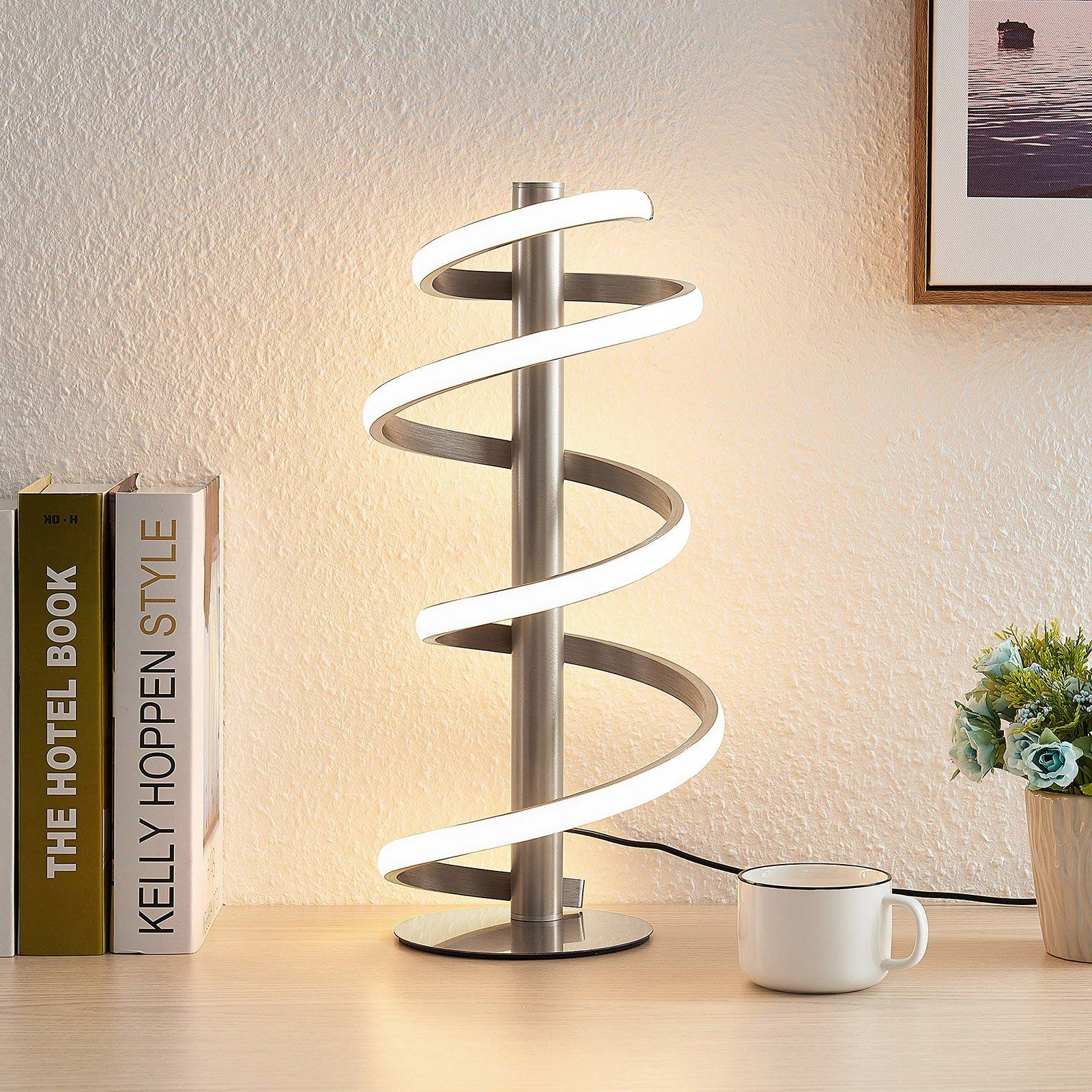 Lucande Milora LED-bordlampe, satinert nikkel