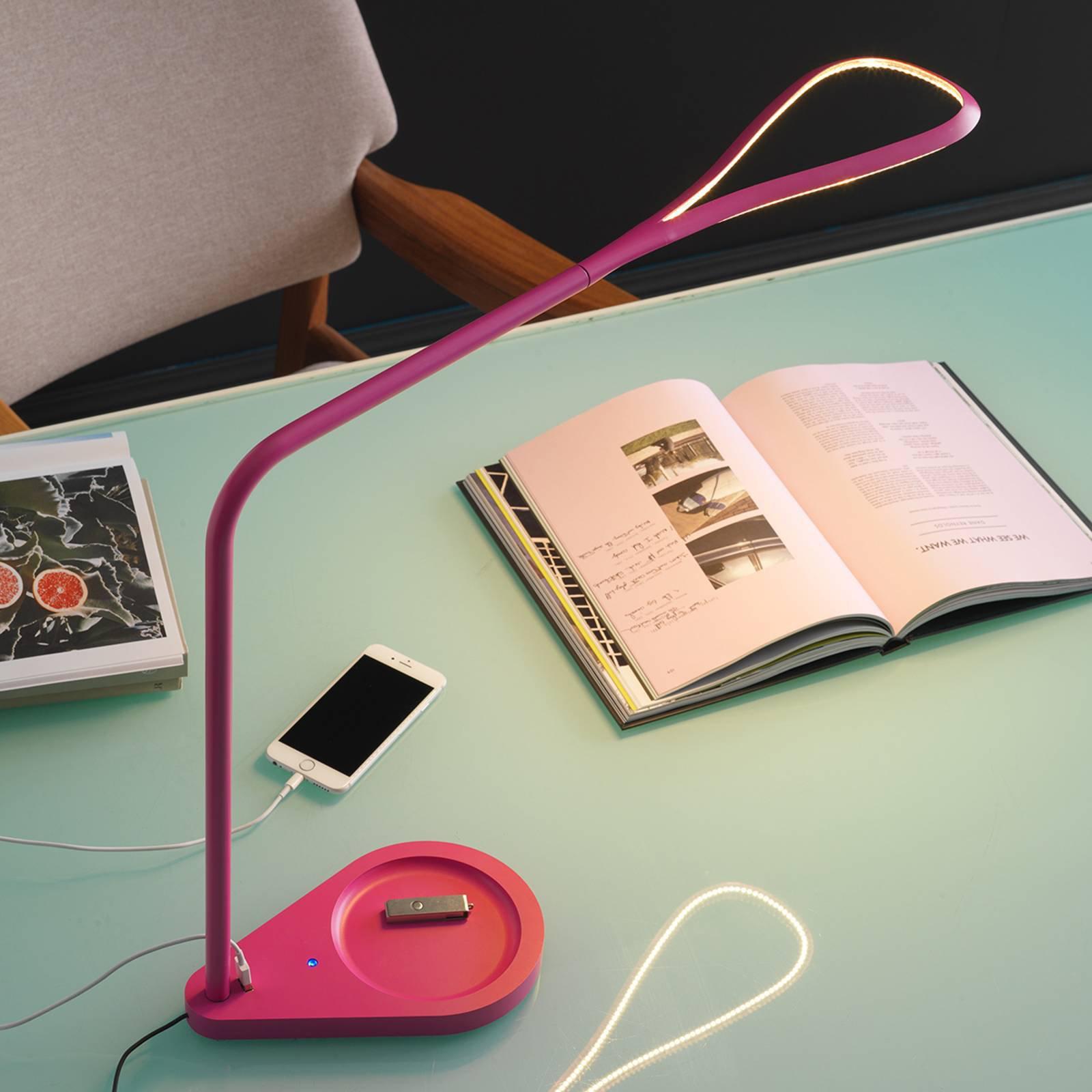Rosafarget LED bordlampe Kinx