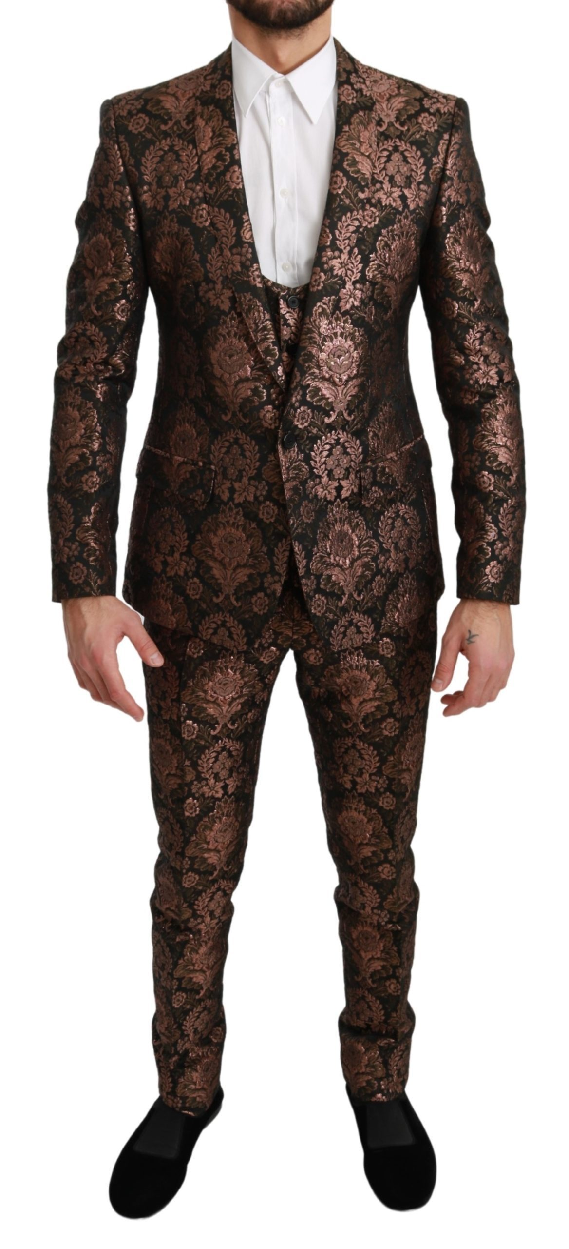 Dolce & Gabbana Men's Jacquard Slim Fit MARTINI Suit Black KOS1703 - IT48 | M