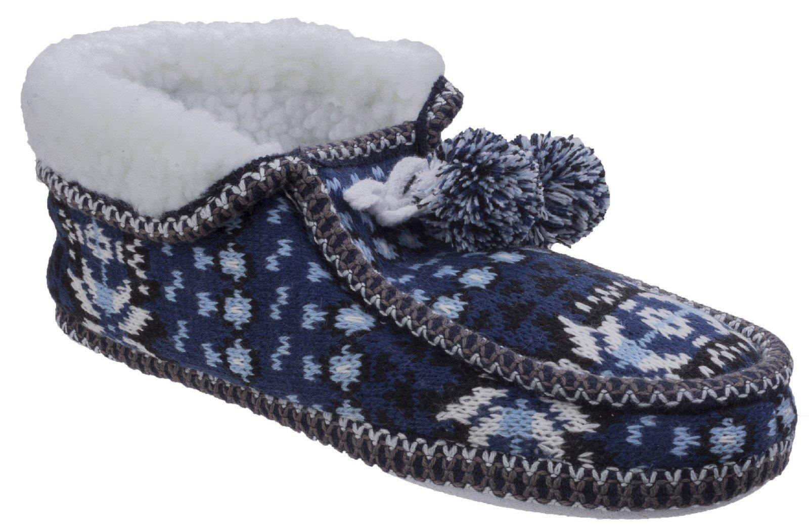 Divaz Women's Lapland Knitted Slipper Black 25584-42601 - Blue 4