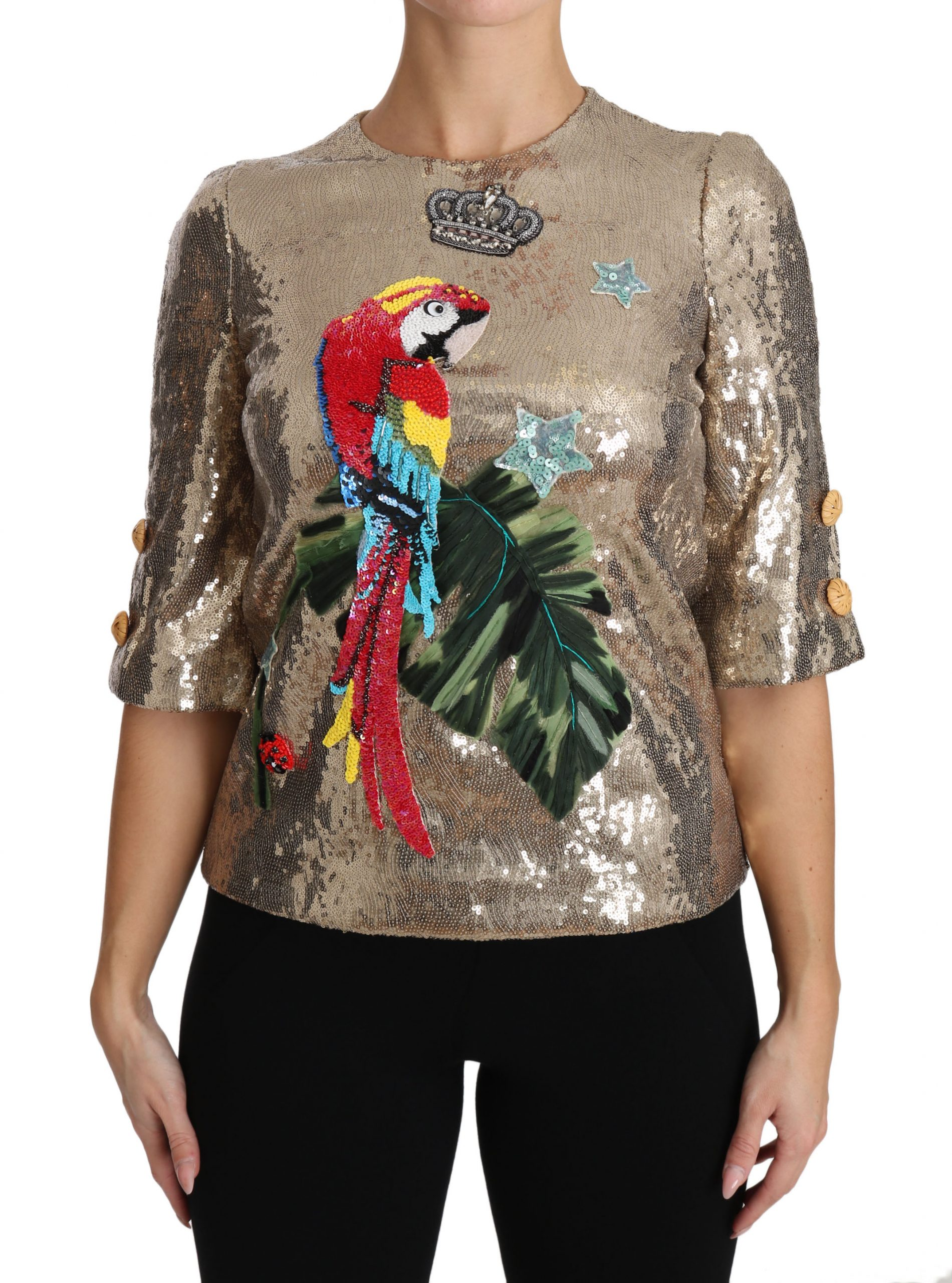 Dolce & Gabbana Women's Short Sleeve Top Gold TSH3124 - IT36 | XS