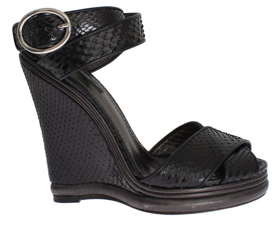 Dolce & Gabbana Women's Python Snakeskin Platform Wedges Black SIG18749 - EU38/US7.5