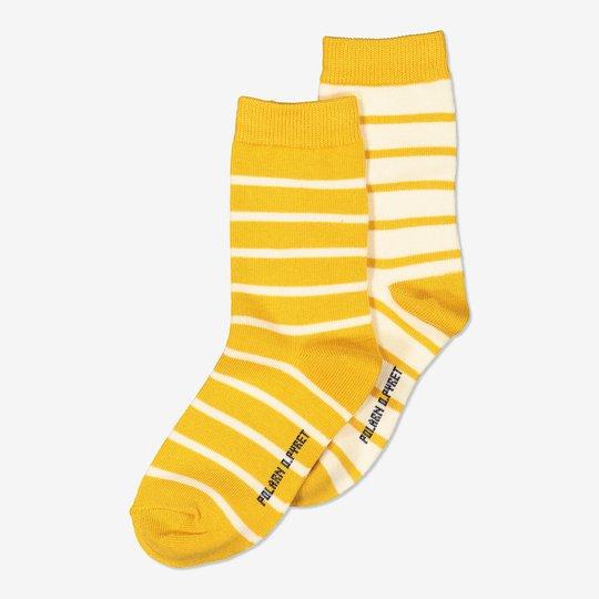 2-pakning stripete sokker gul