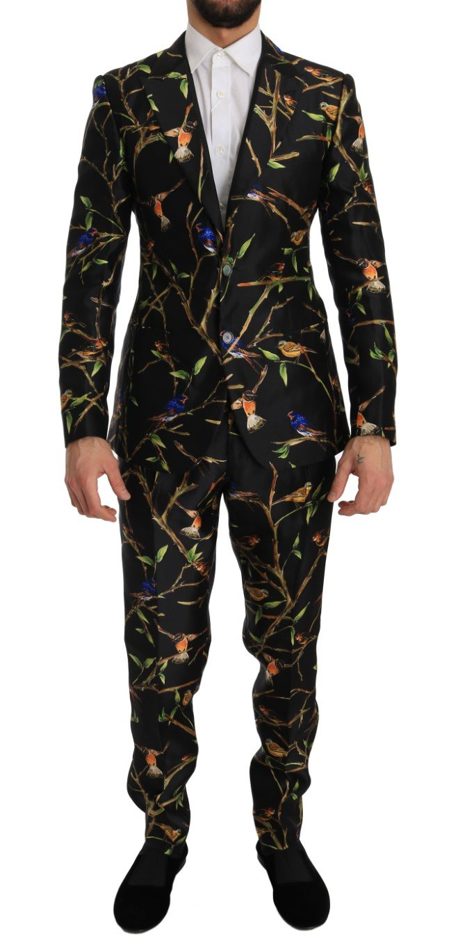 Dolce & Gabbana Men's Bird Silk SICILIA Slim Fit Blazer Suit Beige JKT1265 - IT46 | S