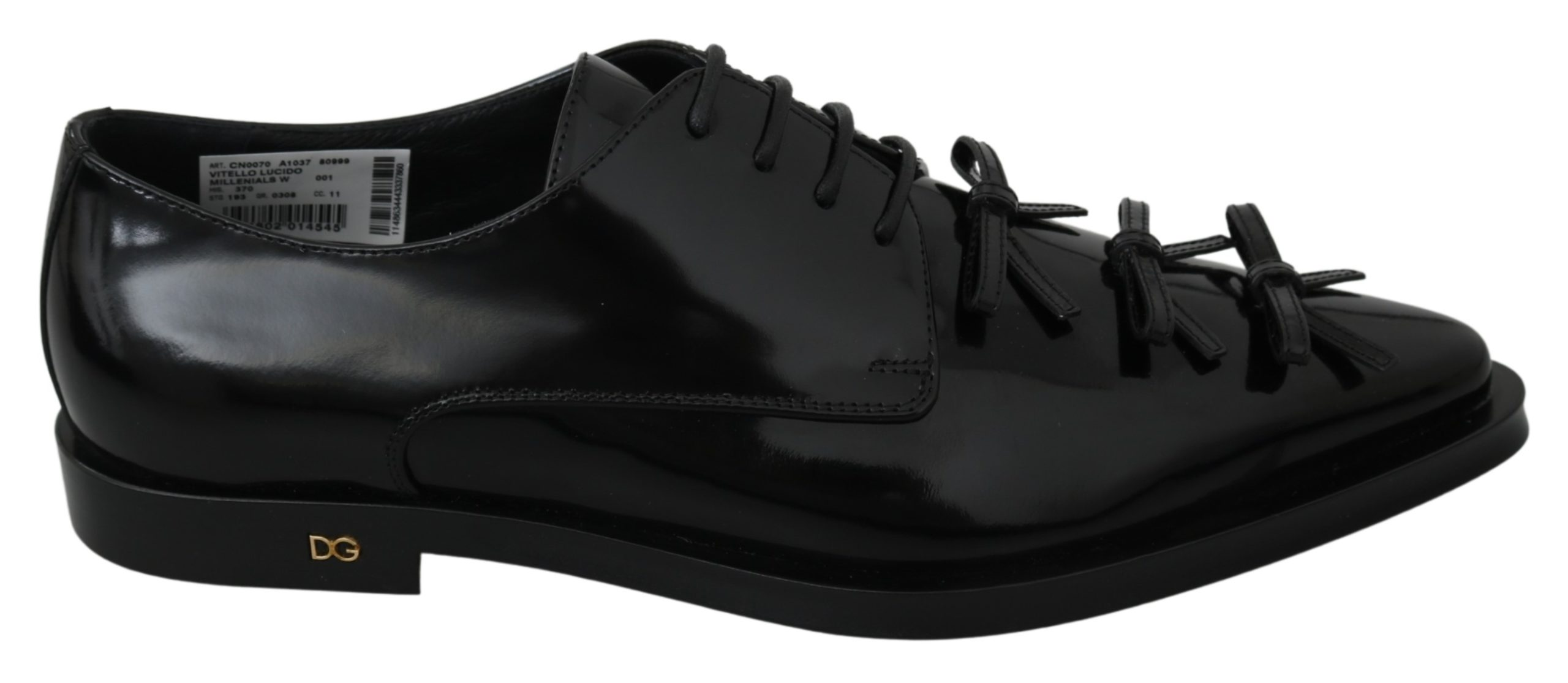 Dolce & Gabbana Women's Leather Formal Lace Up Derby Shoe Black LA7075 - EU39/US8.5