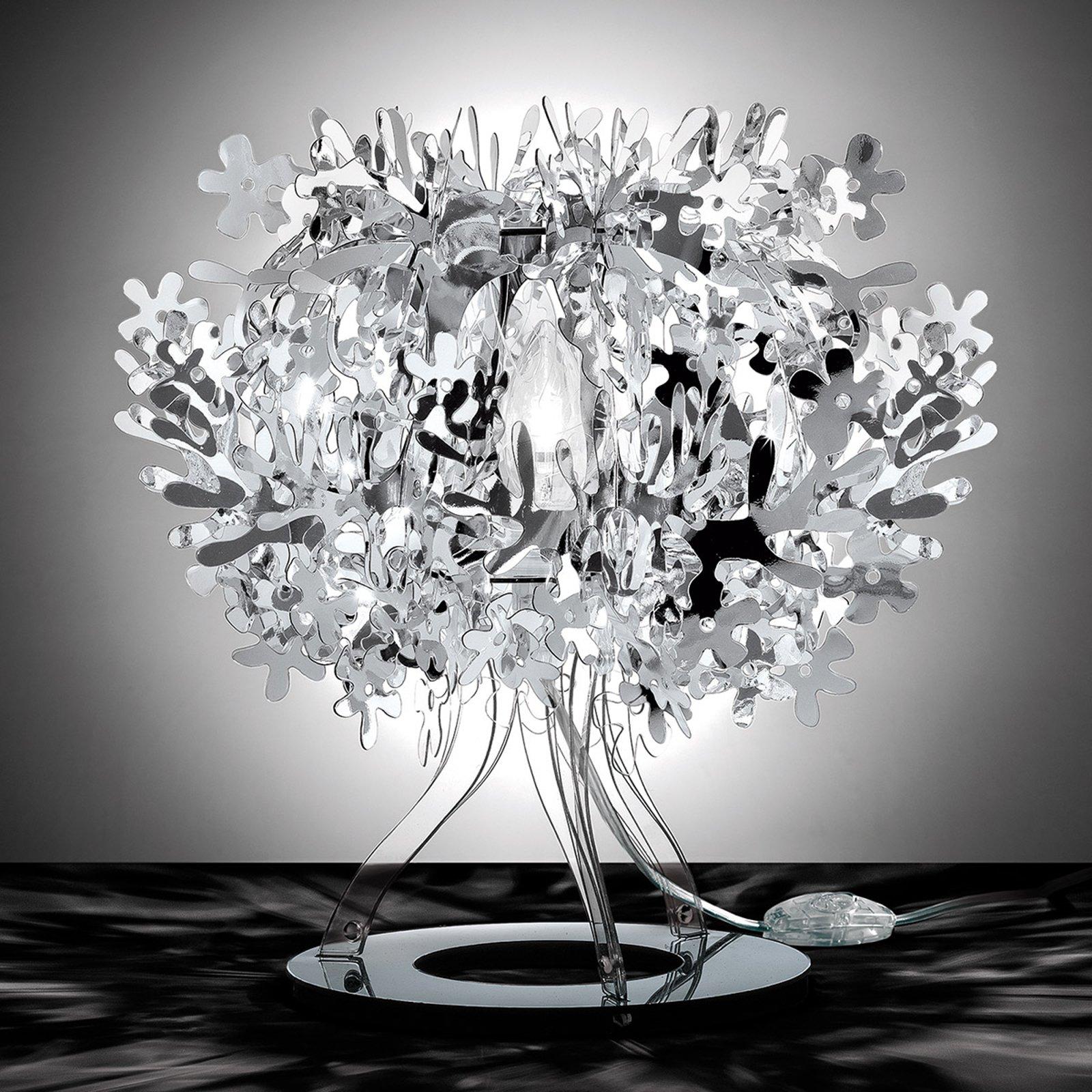 Sølvfarget designerbordlampe Fiorellina