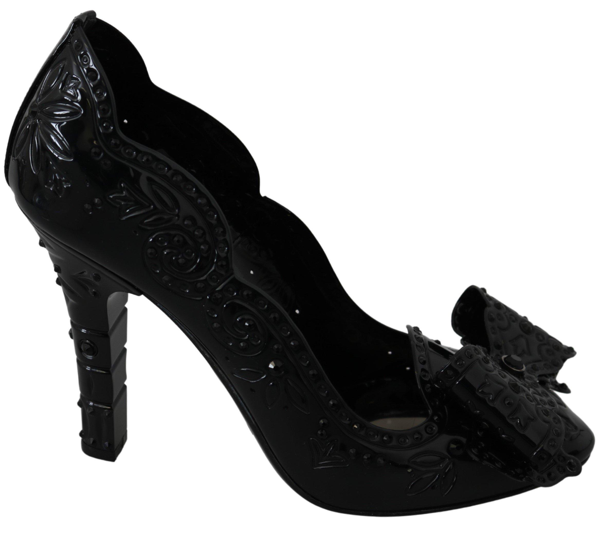 Dolce & Gabbana Women's Ribbon Crystal CINDERELLA Pumps Black LA7280 - EU38/US7.5