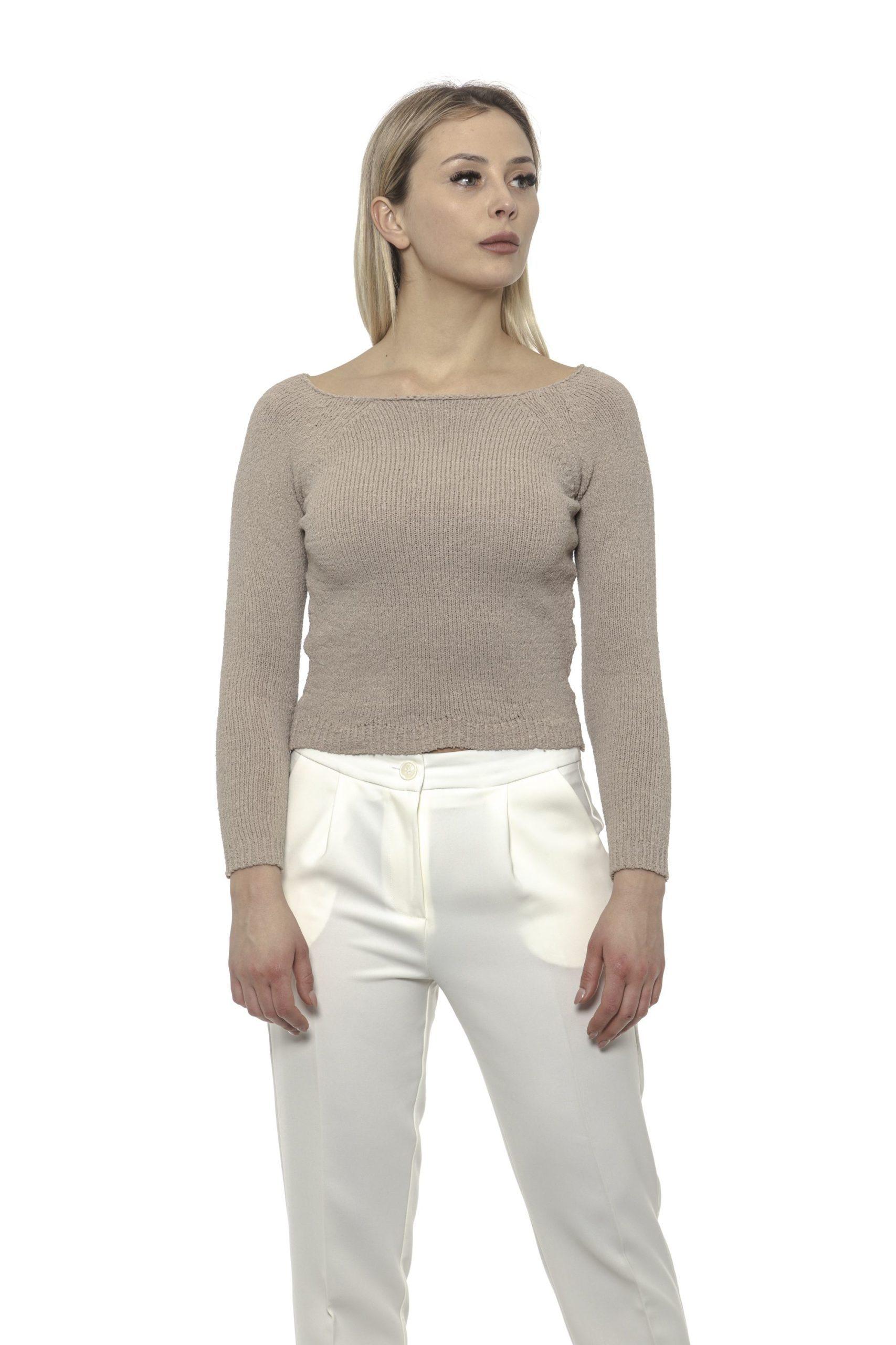 Alpha Studio Women's Boat Neck Sweater Beige AL1375302 - IT40   XS
