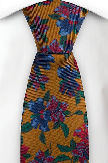 Silke Slips, Sennepsgul med flerfargede blomster, Gull, Blomstrete