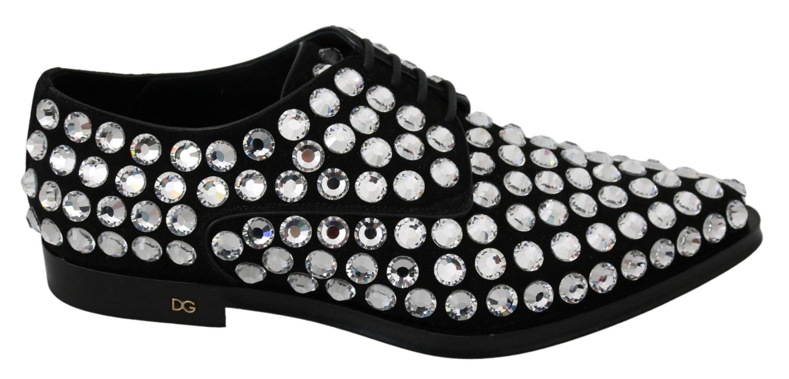Dolce & Gabbana Men's Suede Crystal Strass Derby Shoe Black MV2826 - EU39/US8.5