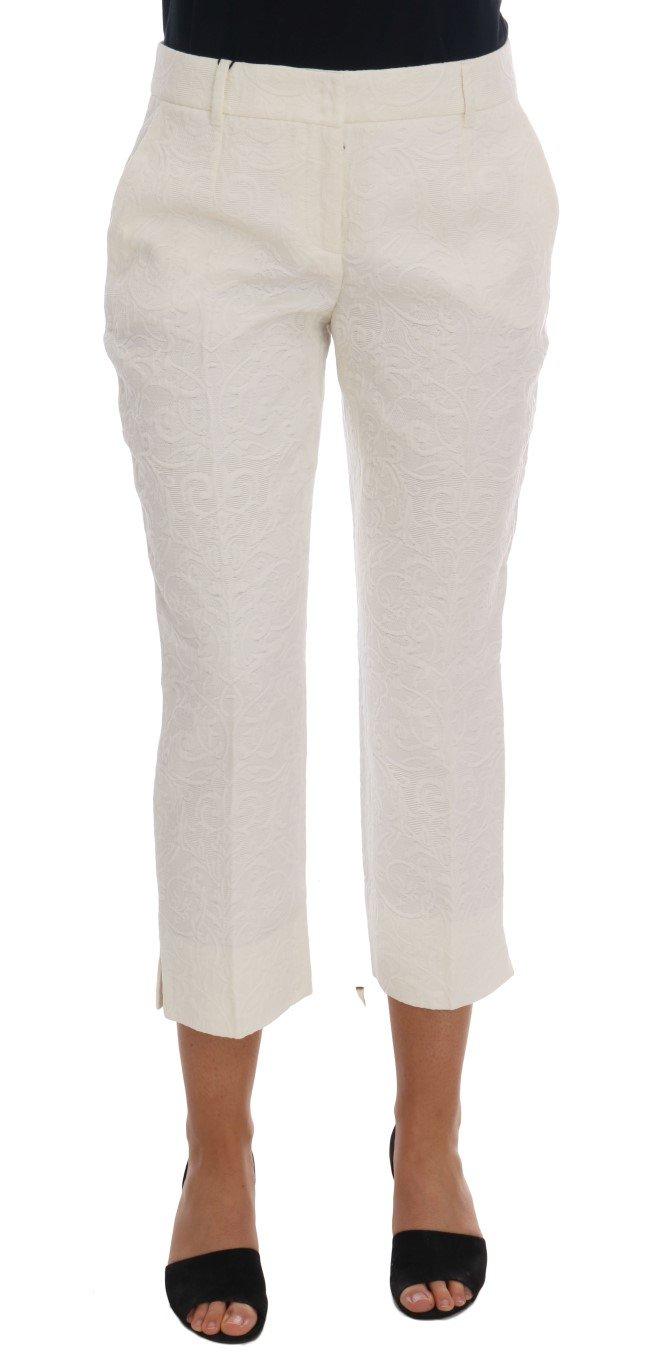 Dolce & Gabbana Women's Floral Brocade Capri Trouser White BYX1139 - IT40|S