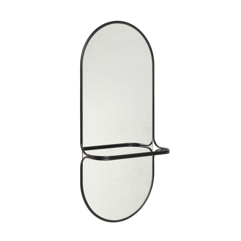 Oval spegel svart klädstång, Hubsch