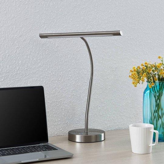 Lindby Nikali LED-skrivebordslampe, nikkel