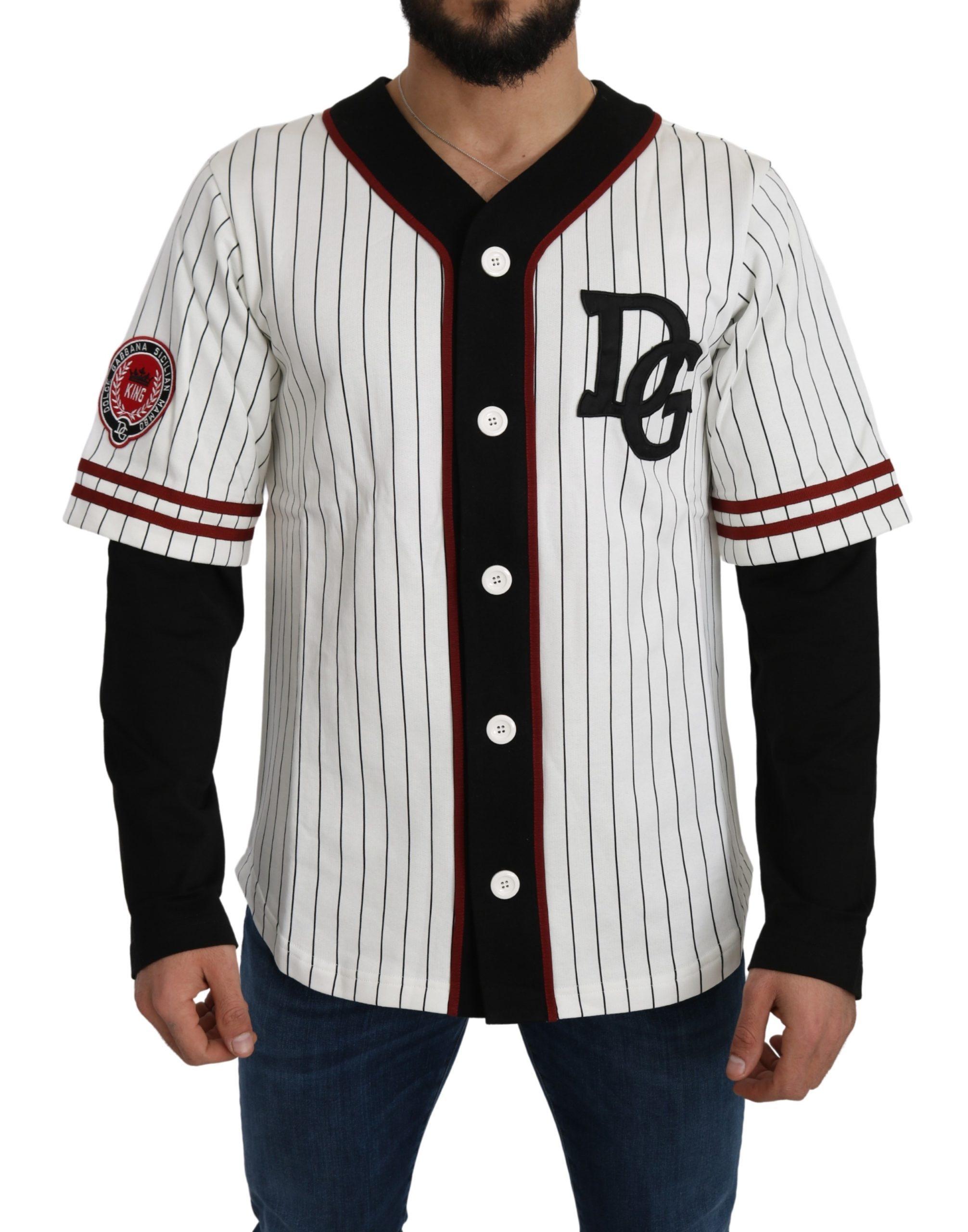 Dolce & Gabbana Men's Cotton Striped Logo Sweater Black/White TSH5101 - IT46   S