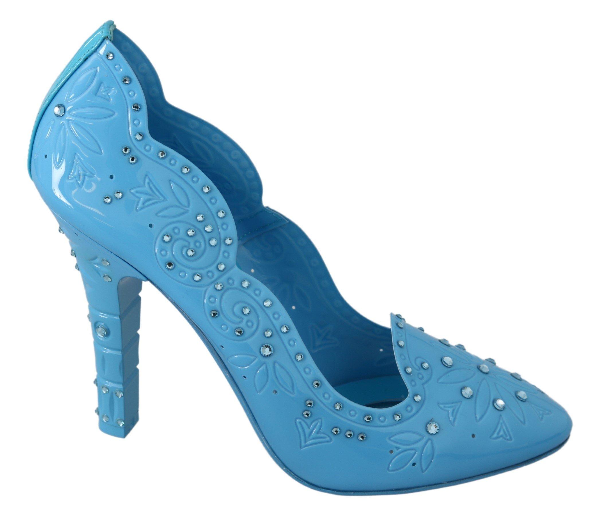 Dolce & Gabbana Women's Crystal Floral CINDERELLA Pumps Blue LA7270 - EU39/US8.5