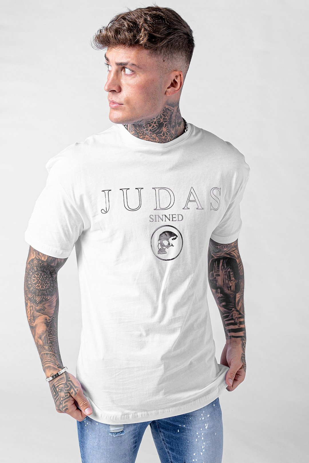 Rue Mirror Print Skull T-Shirt - White, Small