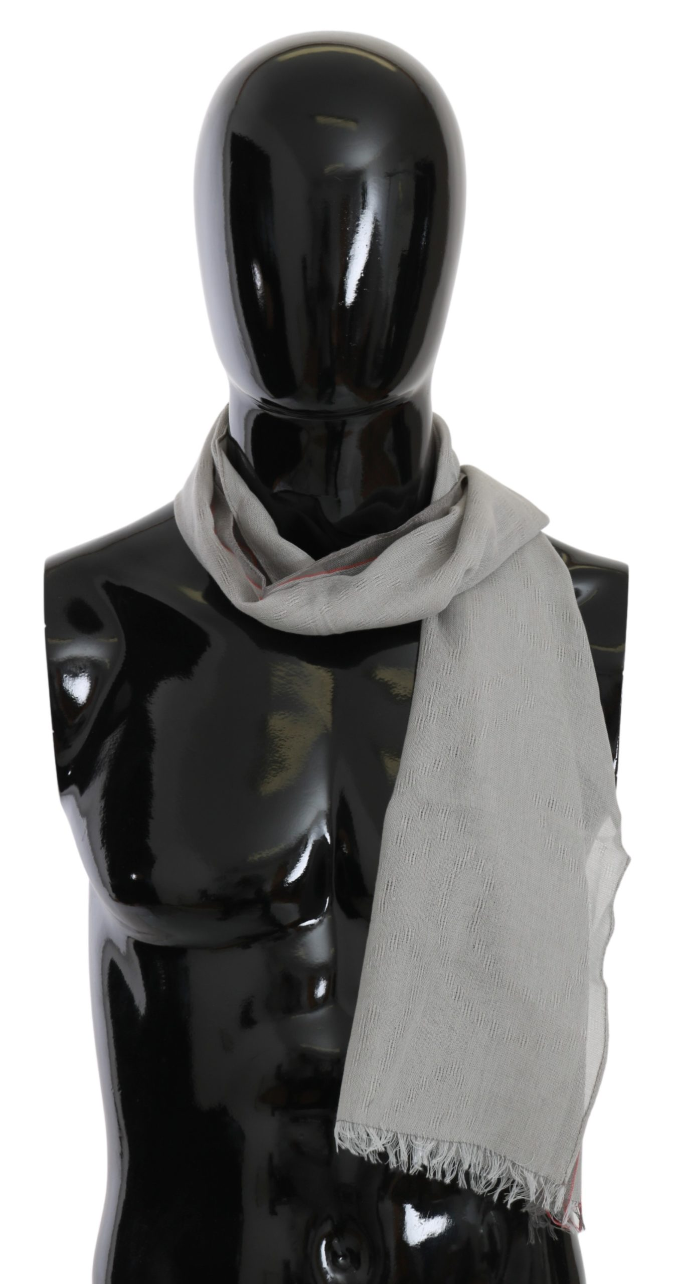 Costume National Men's Fringe Neck Wrap Cotton Scarf Gray MS1525bg