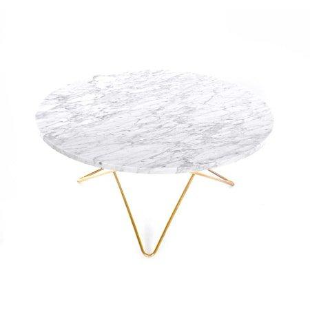 O Table Matt Hvit Marmor med Messingramme Ø80