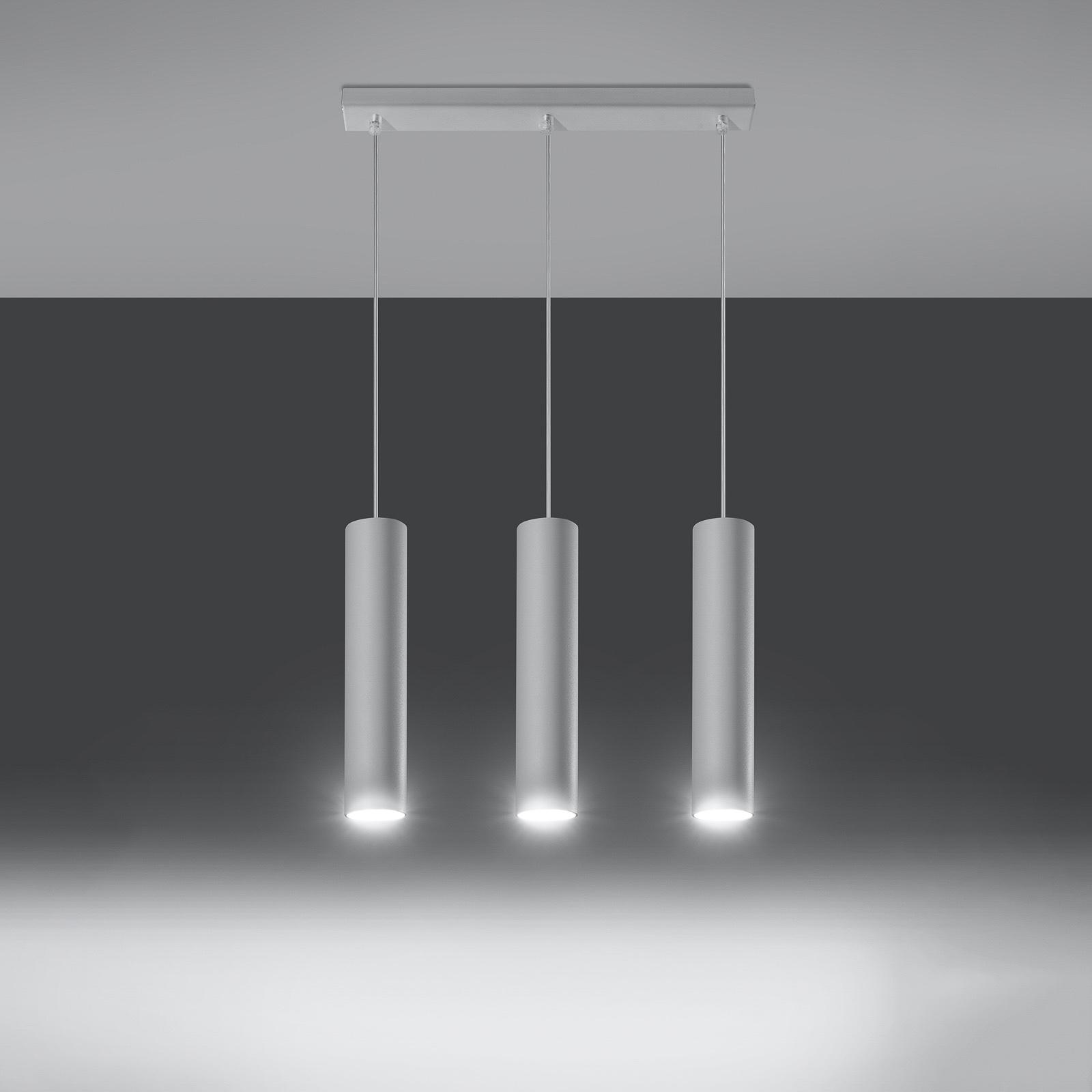 Riippuvalaisin Tube, valkoinen, 3-lamppuinen