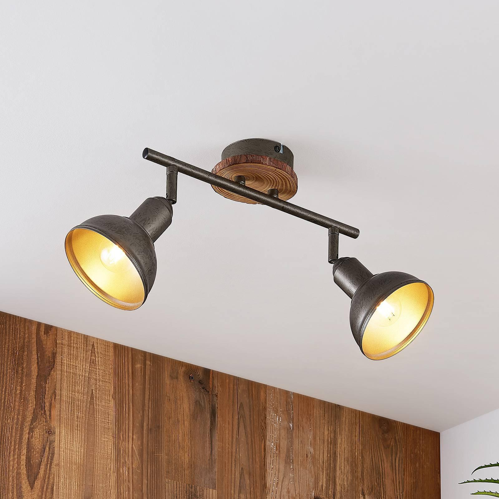 Lindby Nesrin taklampe med treskive, 2 lyskilder