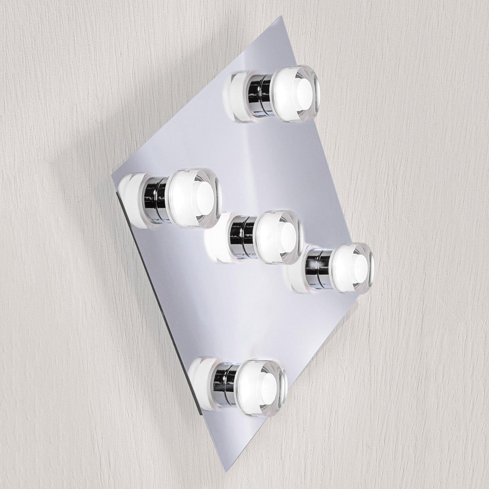 Firkantet LED-taklampe Gilian med 5 lys
