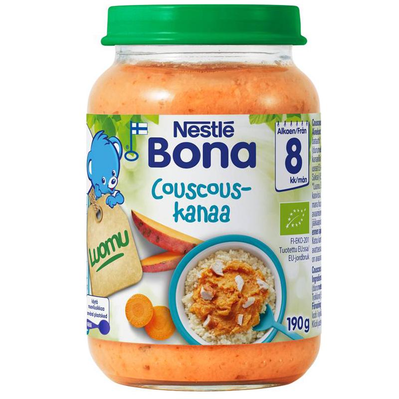 """Luomu lastenruokaa """"Couscous-kanaa"""" 190g - 28% alennus"""