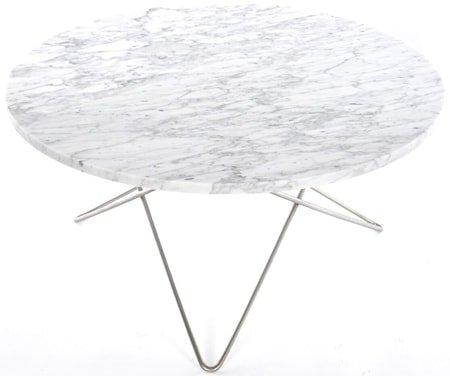 Large O table - Hvit marmor, stålunderstell