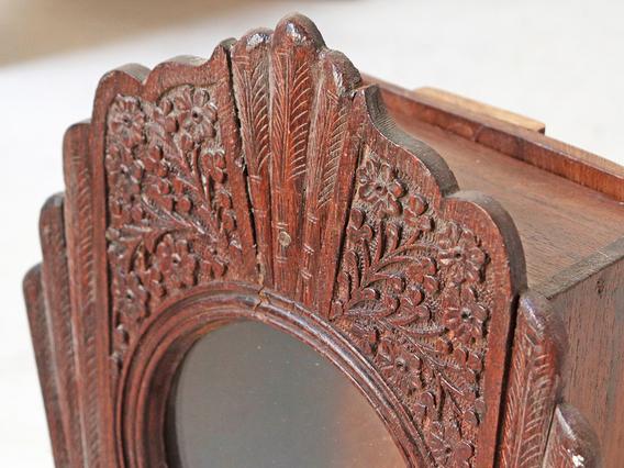Vintage Wooden Clock Display Cabinet - Large Brown