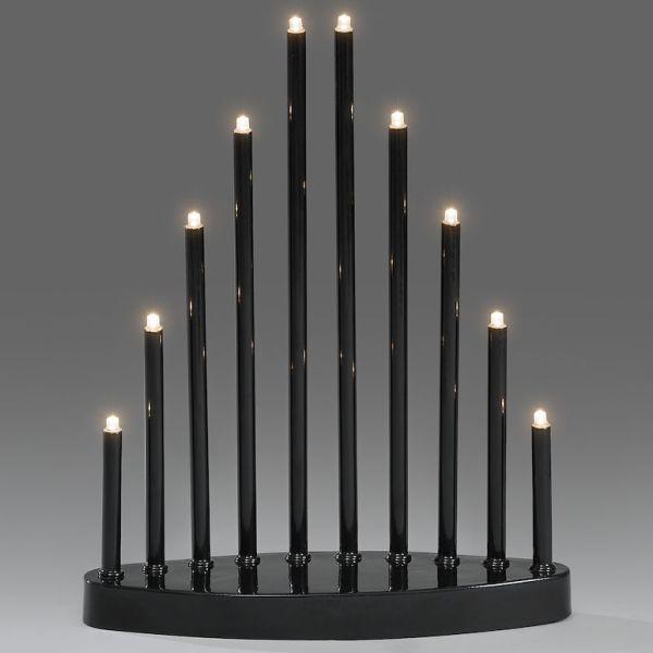 Konstsmide 2401-710TR Elektrisk lysestake svart, 10 lys, LED