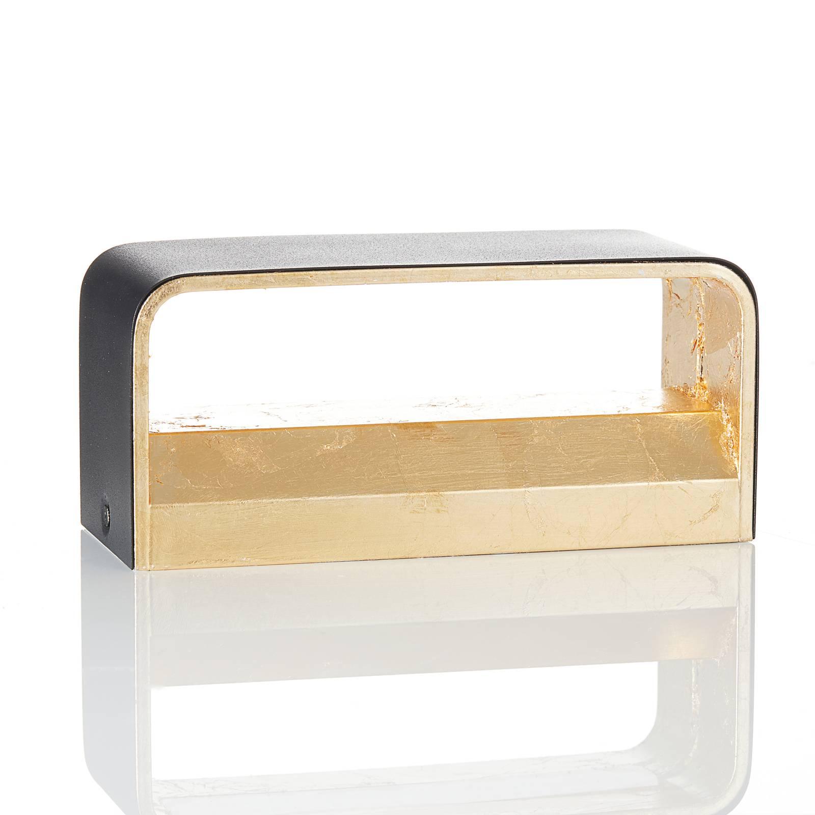 Lucande Sessa -LED-seinävalaisin 20 cm musta/kulta