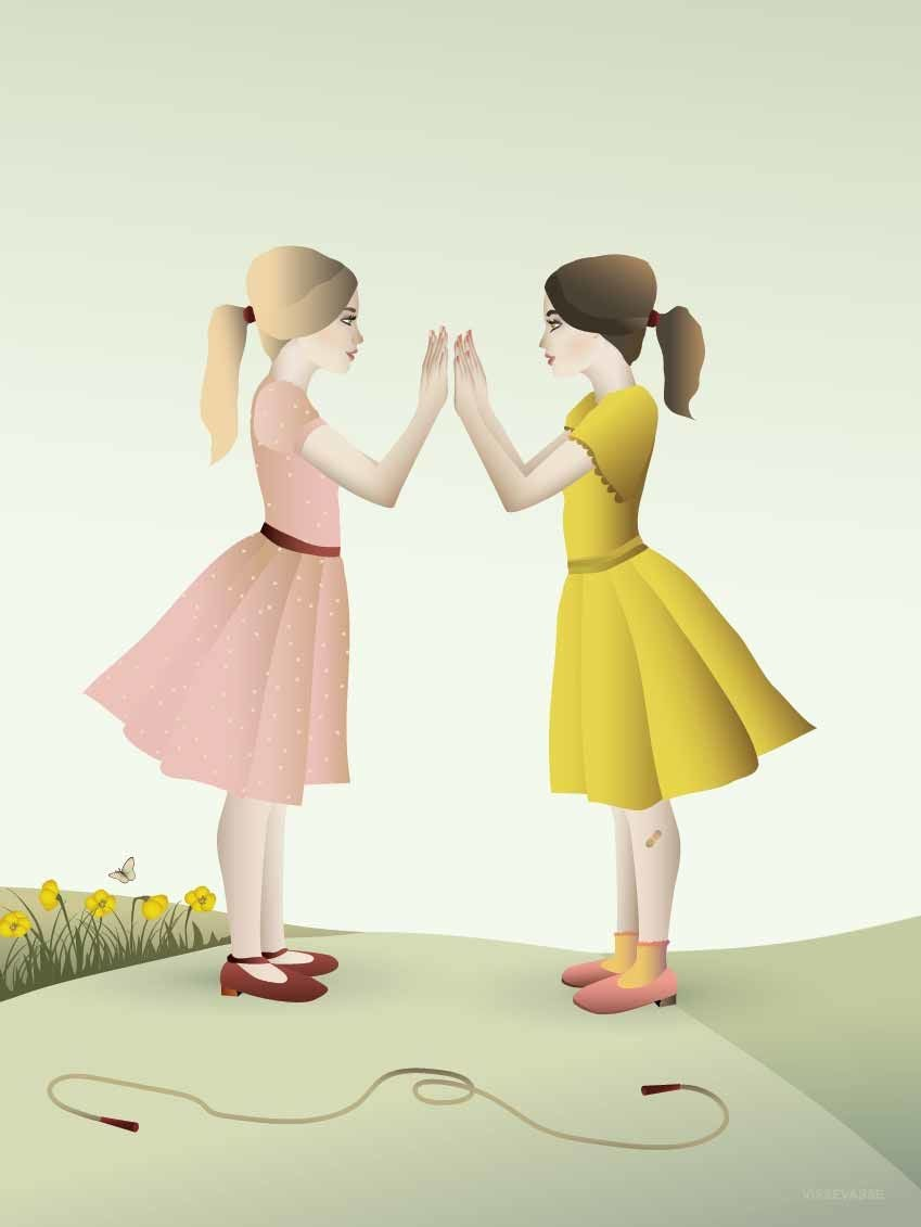ViSSEVASSE Juliste Handclaping Girls 50x70