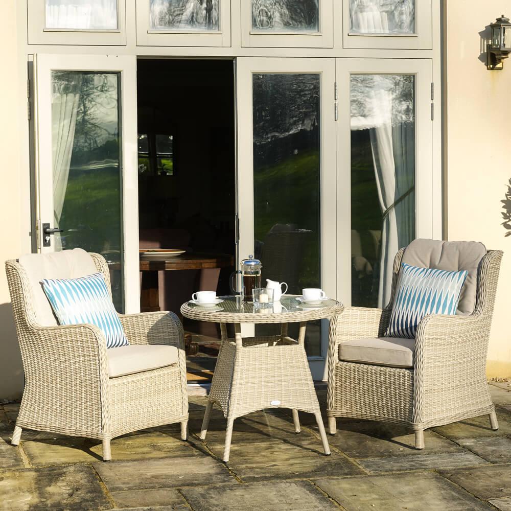 2021 Bramblecrest Chedworth Garden Bistro Set With 2 High-Back Armchairs – Sandstone