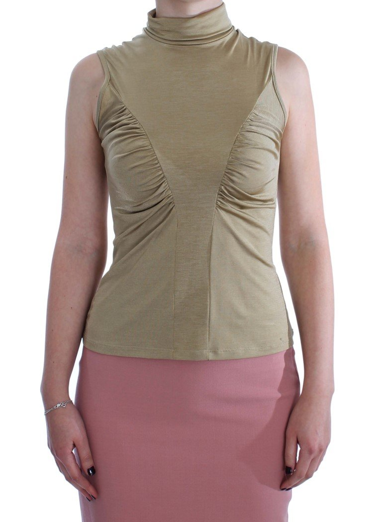Exte Women's Nylon Turtleneck Top Gold SIG30859 - IT44 | M