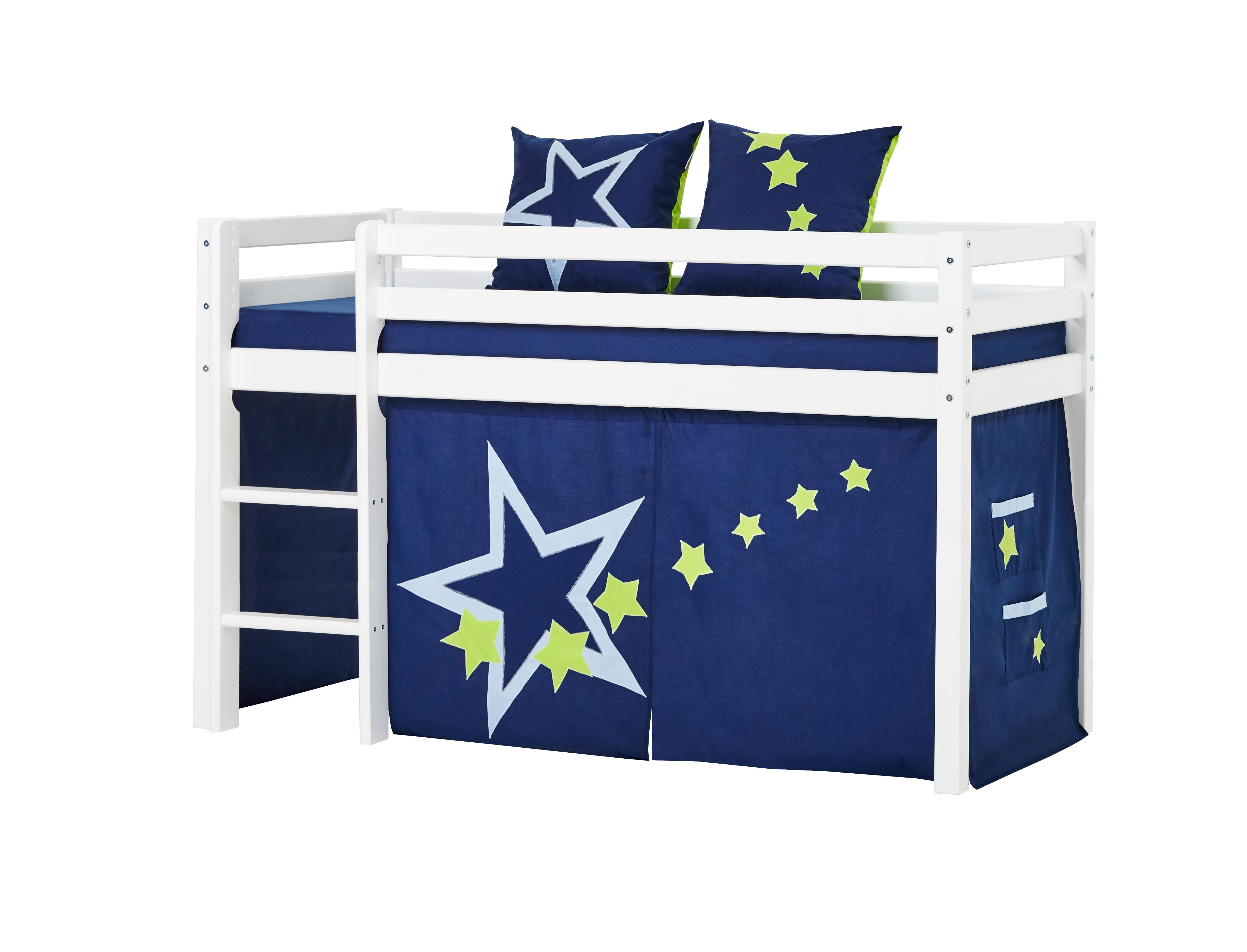 Hoppekids - BASIC Half-high bed with foam mattress + mattress cover + curtain 70x160 - Blue Star