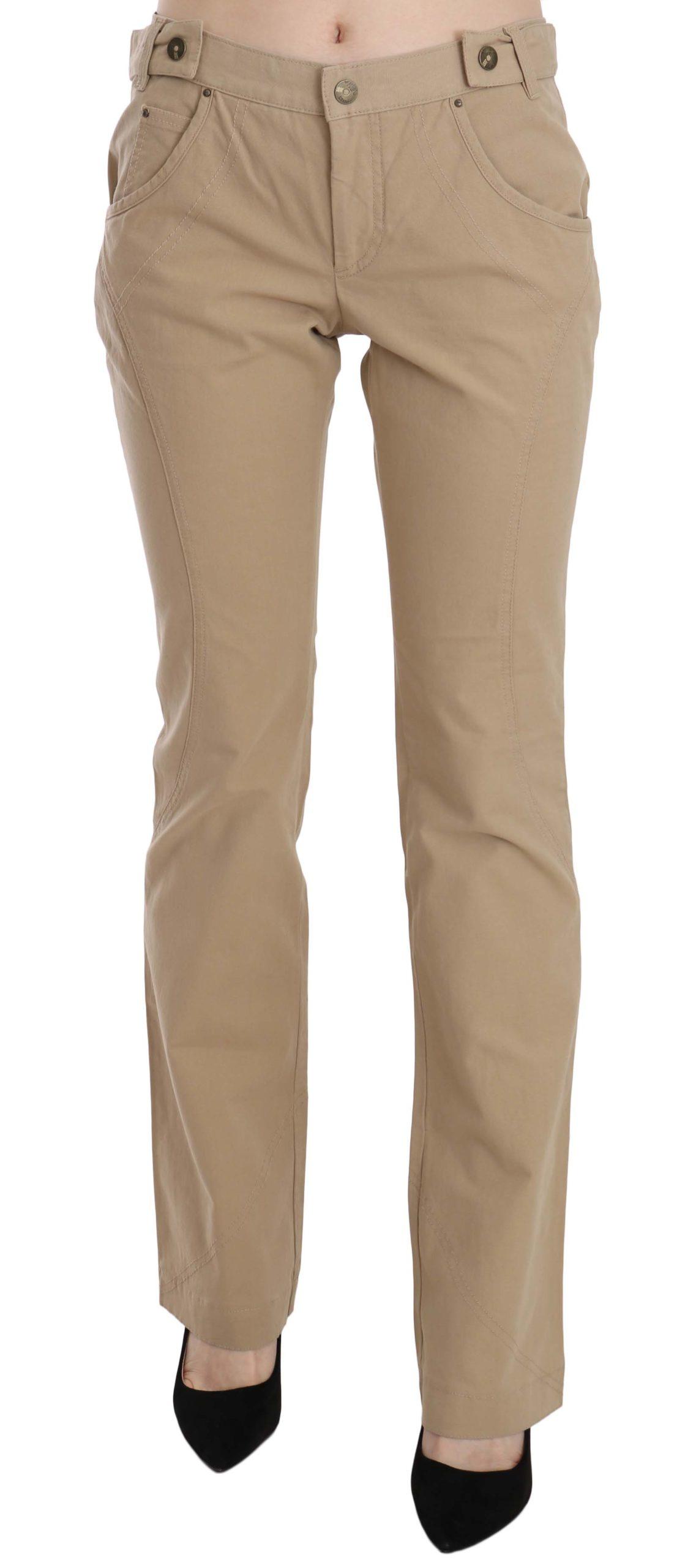 Just Cavalli Women's Mid Waist Straight Trouser Beige PAN70365 - IT44|L
