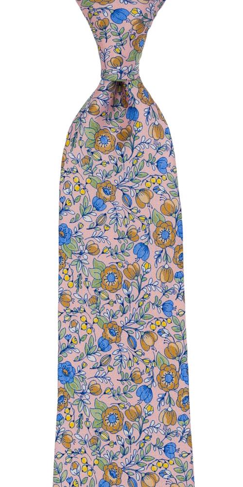 Silke Slips, Blå, beige, grønne & gule blomster på blekrosa, Rosa, Blomster