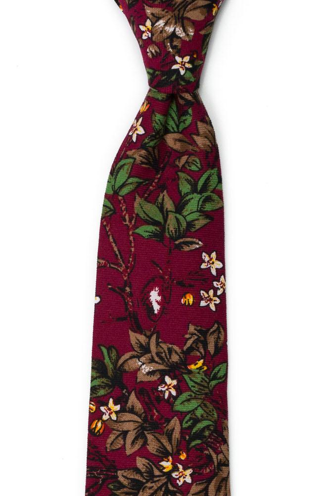 Bomull Slips, Hvite blomster og grønne blader på burgunder, Rød, Blomster