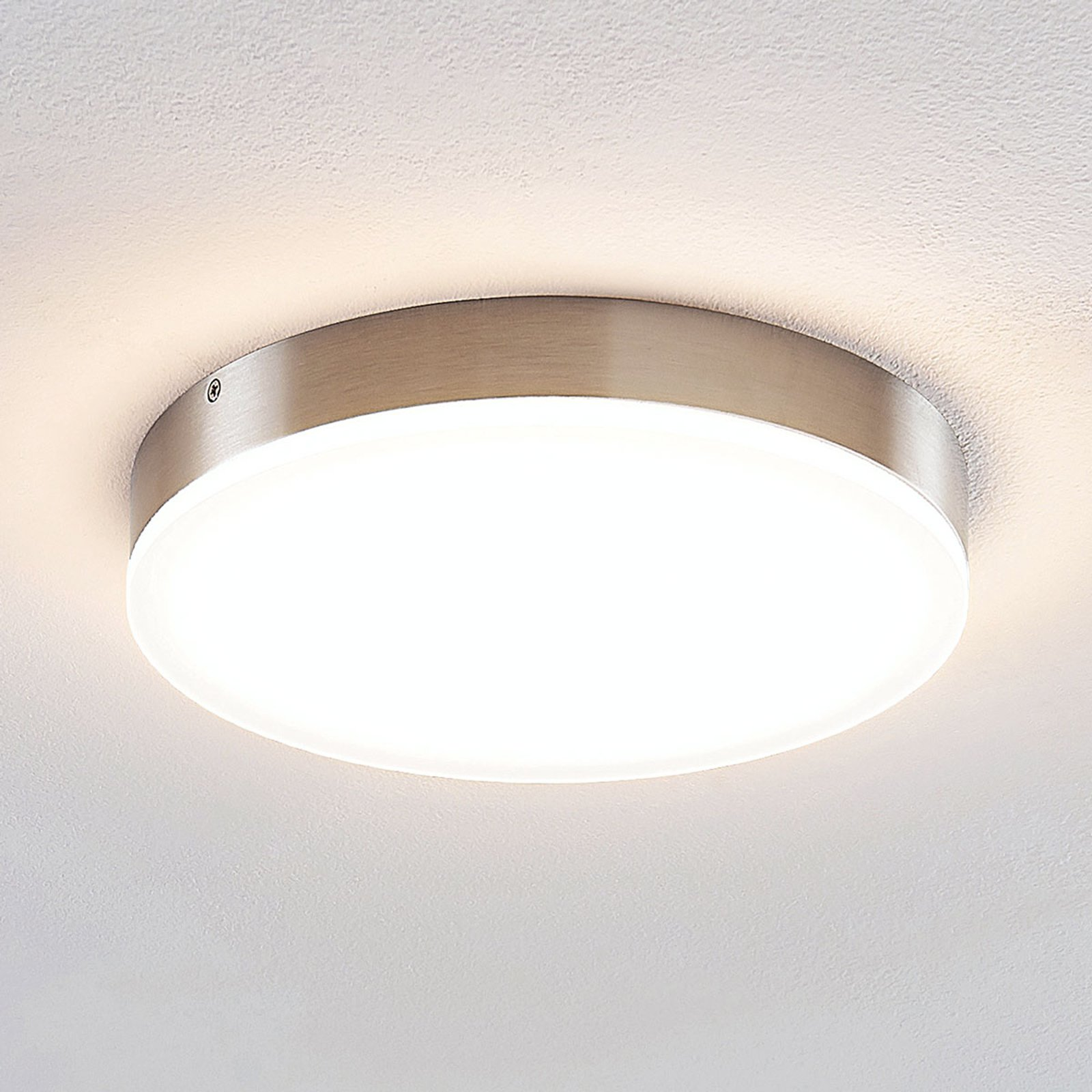 Lindby Leonta LED-taklampe, nikkel, Ø 25 cm