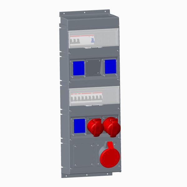 ABB 2CMA101809R1000 Pistorasiakeskus IEC/CEE-pistorasioille 1x463, 1x432, 1x416, 3xSchuckouttag