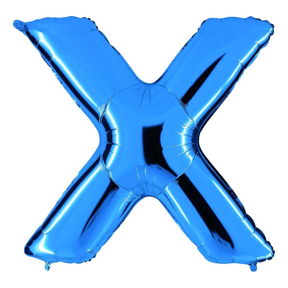 Bokstavsballong Blå Metallic - Bokstav X