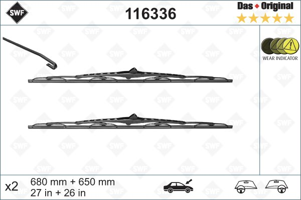 Torkarblad set 680 + 650 mm