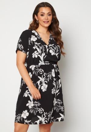 Only Carmakoma Luxina SS Wrap Knee Dress Black AOP Palm 54