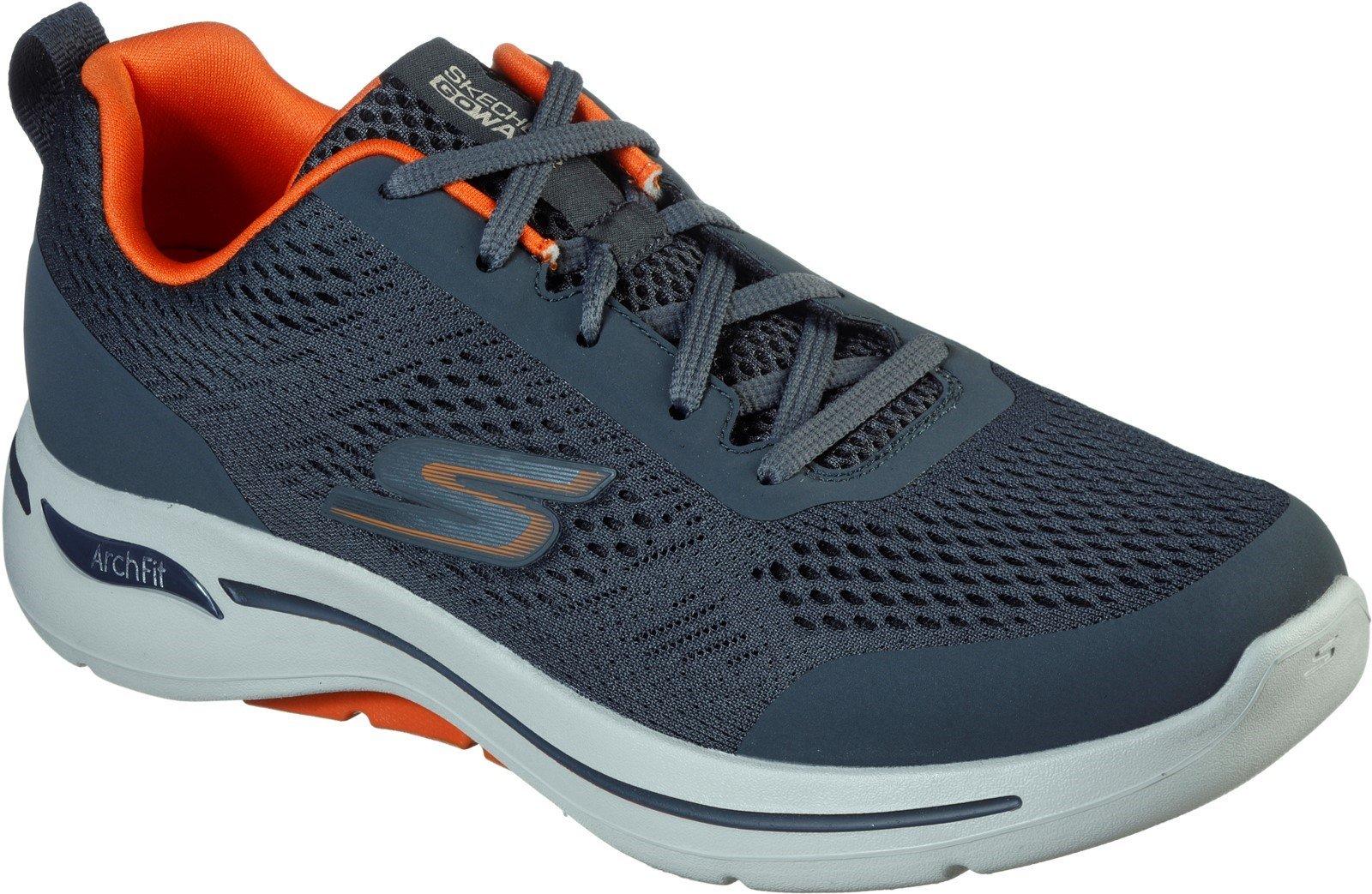 Skechers Men's Go Walk Arch Fit Idyllic Sports Trainer Various Colours 32202 - Charcoal/Orange 6