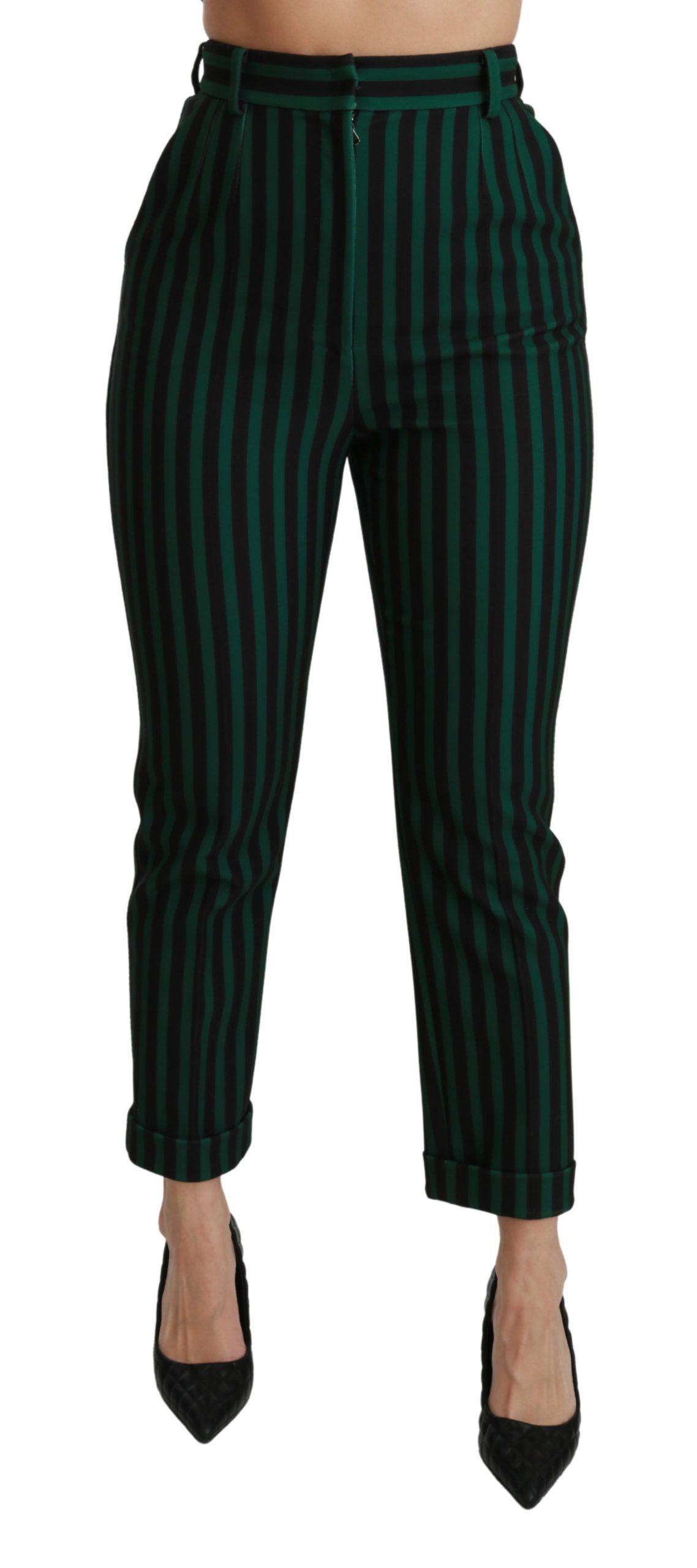 Dolce & Gabbana Women's Striped High Waist Trouser Black PAN70927 - IT40|S